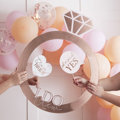 Rose Gold Ring Hen Party Photo Booth Frame