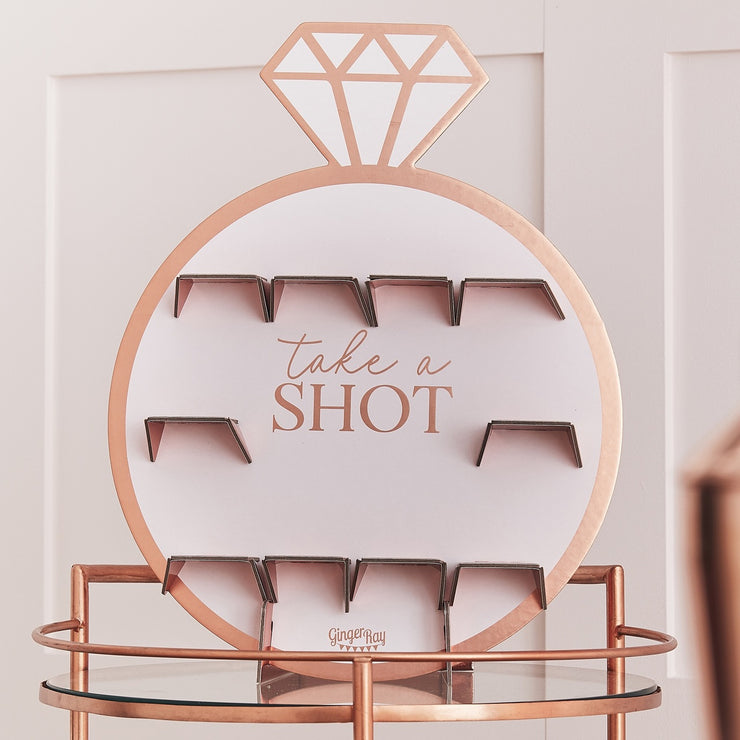 Pink And Rose Gold Foiled Paper Hen Party Shot Glasses