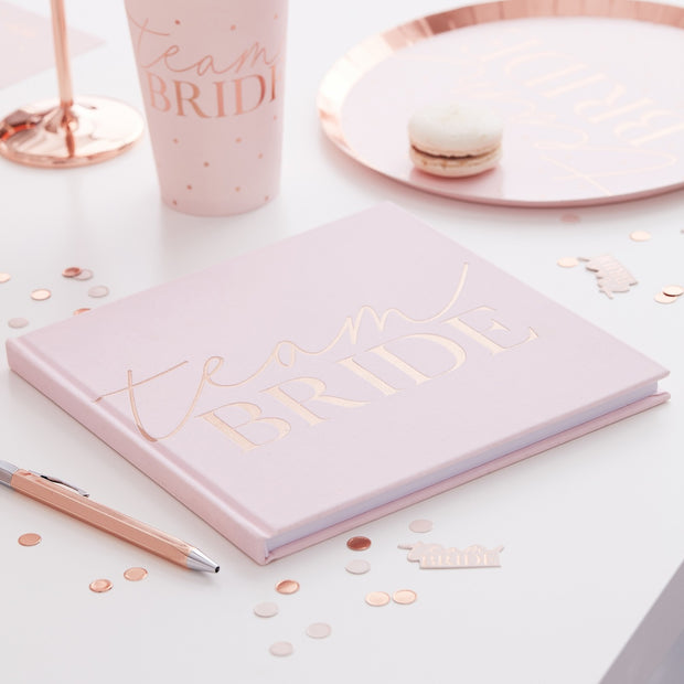 Pink Blush Velvet Team Bride Hen Party Guest Book