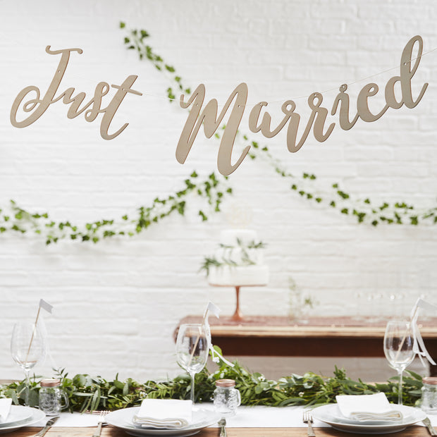 Just Married Rose Gold Bunting Backdrop