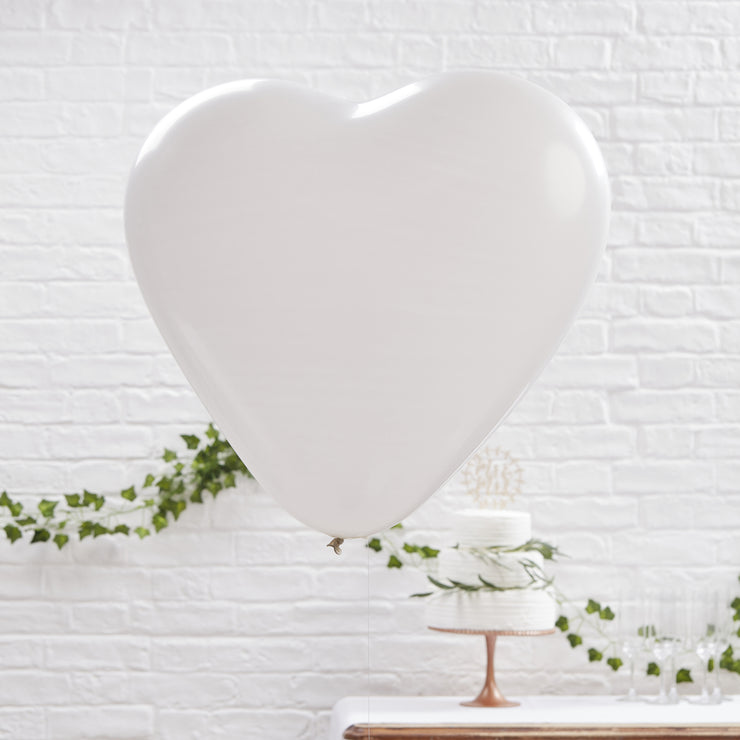 Large White Heart Balloons (Pack of 3)