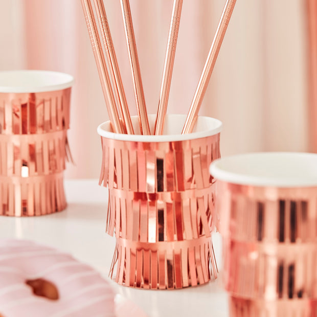Fringe Rose Gold Paper Cups