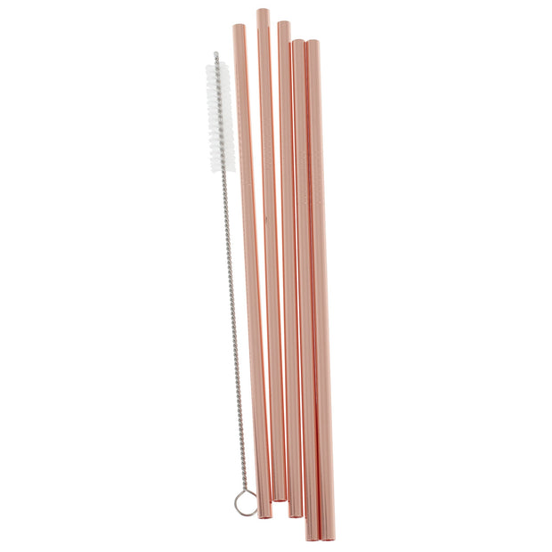 Rose Gold Stainless Steel Straws (Pack of 5)
