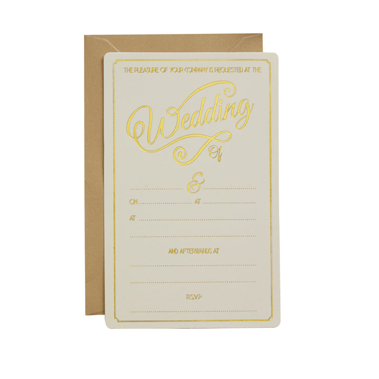 Ivory & Gold Foiled Wedding Invitations (Pack of 10)
