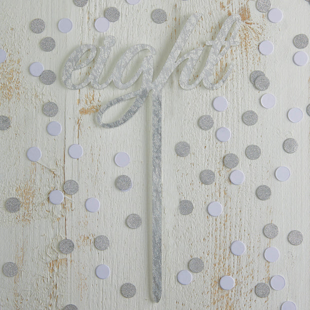 Silver Sparkle Script Acrylic Table Numbers 1-12
