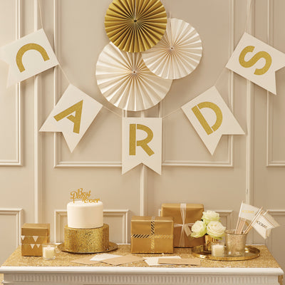 Ivory & Gold Cards Bunting