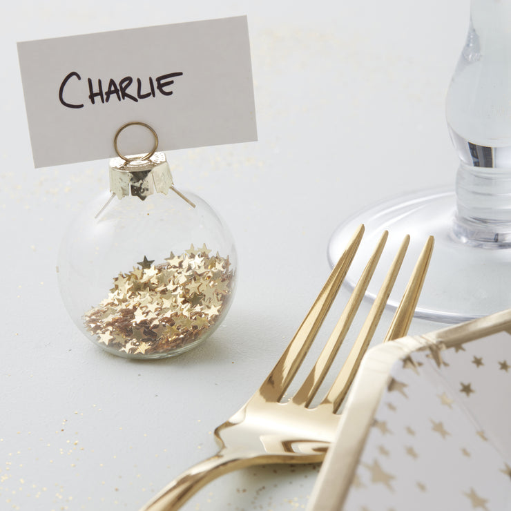 Gold Star Filled Bauble Place Card Holders (Set of 6)