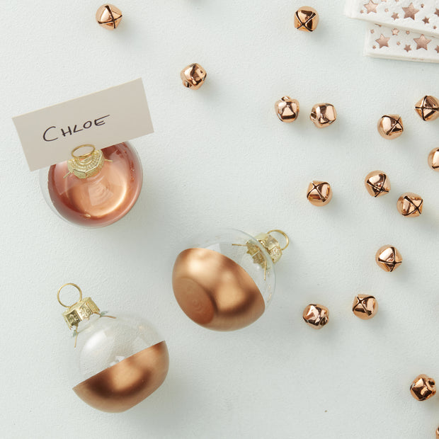 Rose Gold Dipped Glass Bauble Place Card Holders (Set of 6)