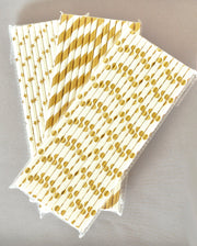 Gold Foil Pattern Straws (Pack of 25)