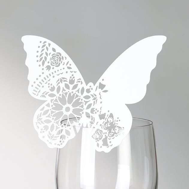 Modern Romance White Butterfly Place Cards (Set of 10)