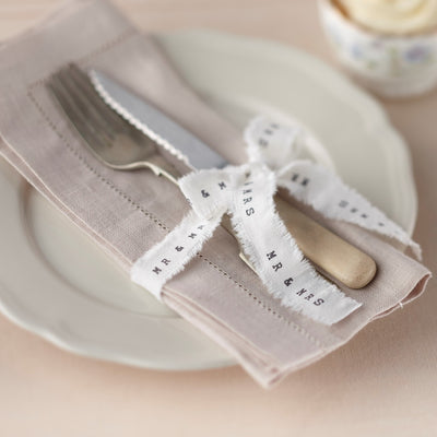 Mr & Mrs White Frayed Ribbon (4 Meters)