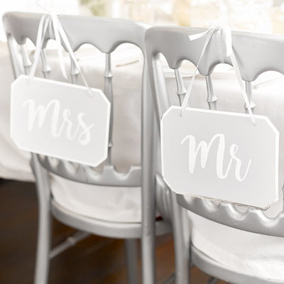 'Mr' and 'Mrs' Modern Romance Chair Signs