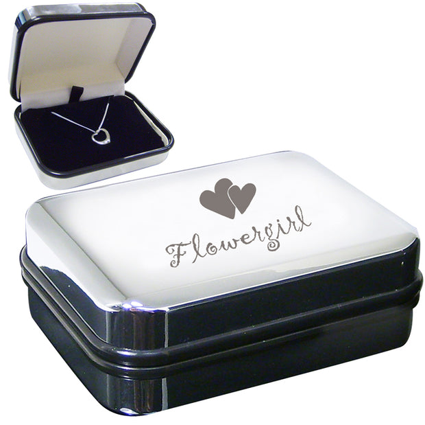 Flowergirl Box with Sterling Silver Heart Necklace