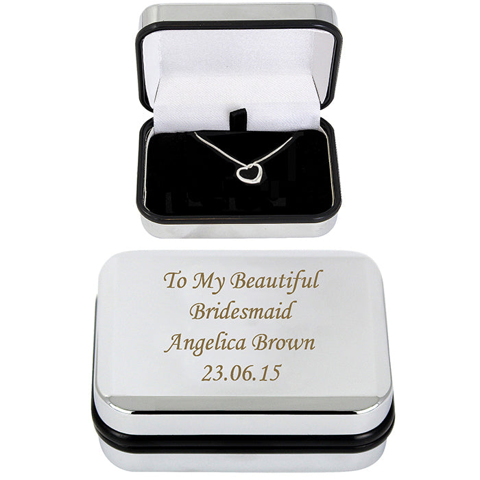 Heart Necklace With Engraved Box