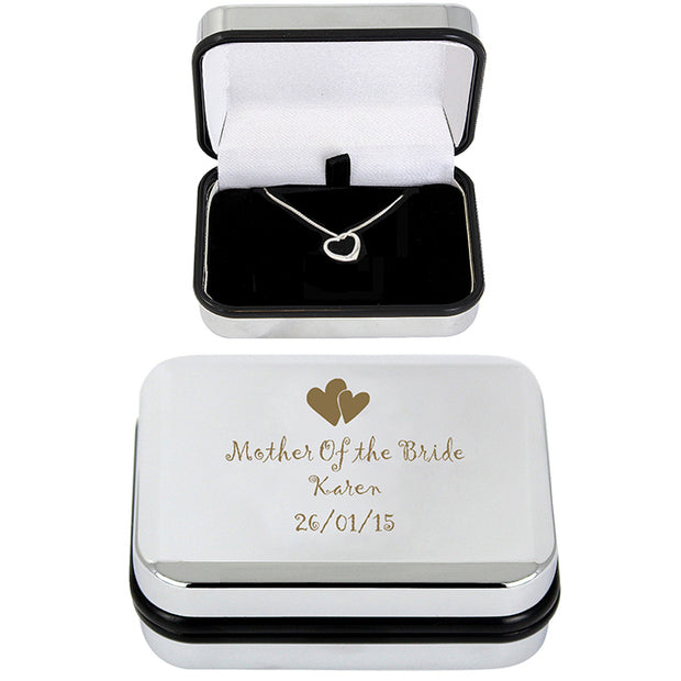 Heart Necklace With Heart Design Engraved Box