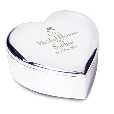 Decorative Maid of Honour Heart Trinket Box