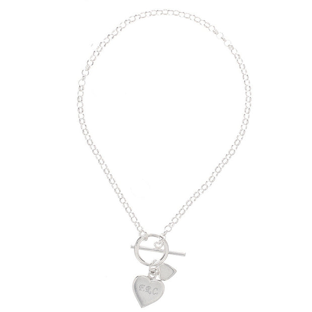 Sterling Silver Engraved Hearts T-Bar Bracelet