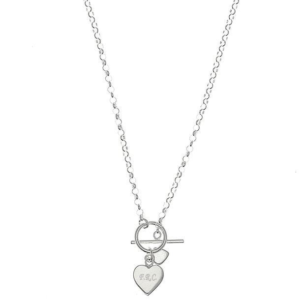 Sterling Silver Engraved Hearts T-Bar Necklace
