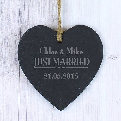 Just Married Slate Heart Decoration