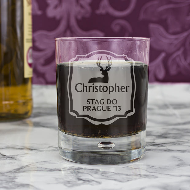 Personalised Stag Bubble Glass