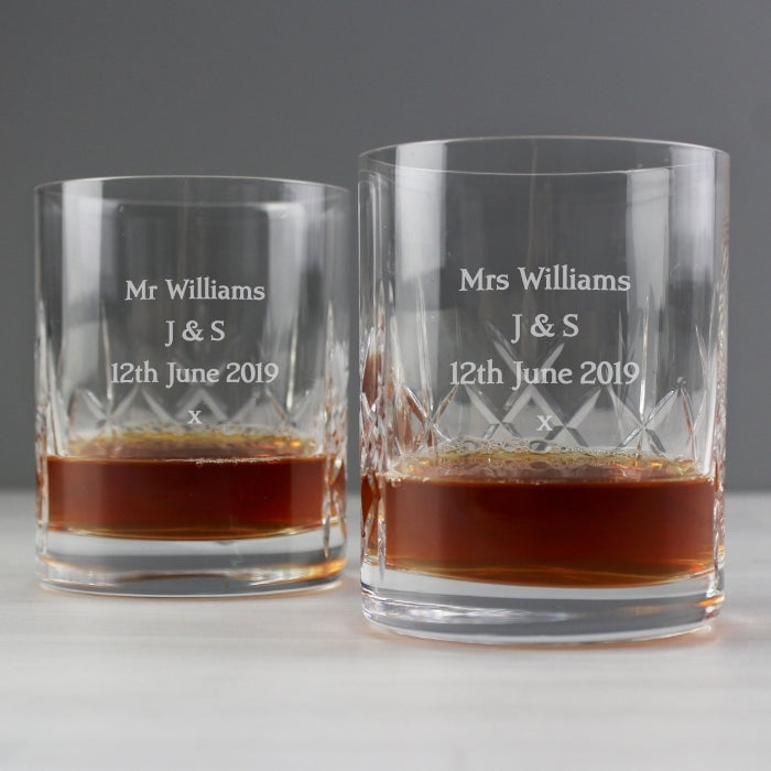 Pair of Crystal Whisky Tumblers
