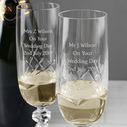 Pair of Crystal Flutes and Champagne