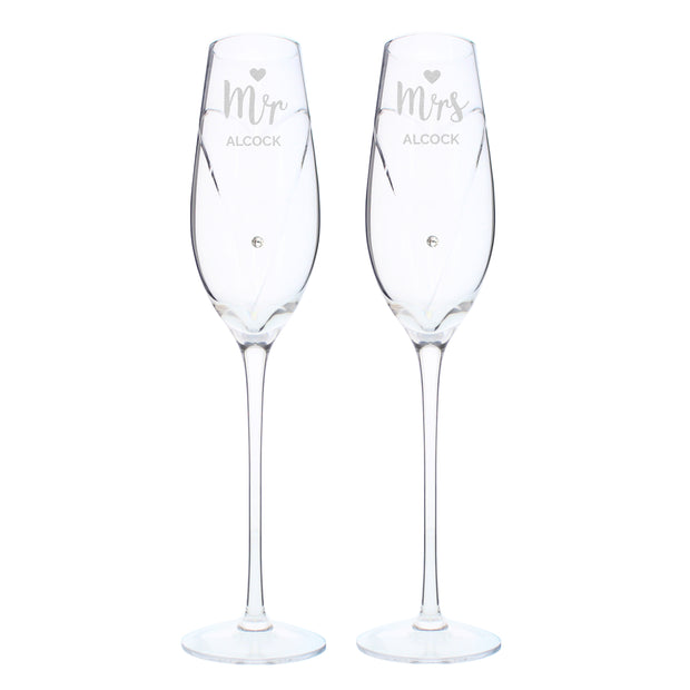 Hand Cut Mr & Mrs Pair of Flutes in Gift Box