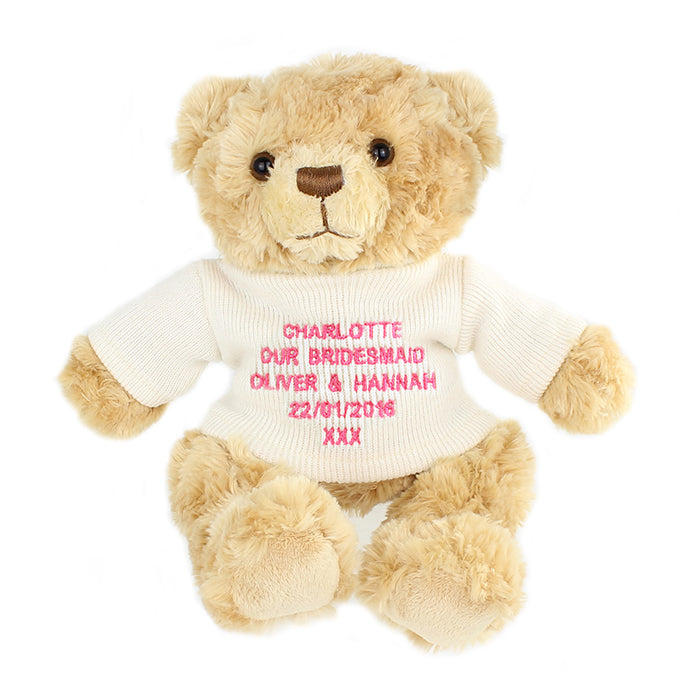 Personalised Message Teddy Bear in Pink