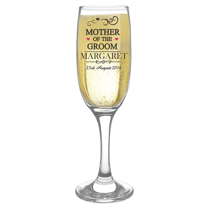 Decorative Mother of the Groom Glass Flute