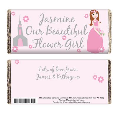 Personalised Beautiful Flower Girl Chocolate Bar
