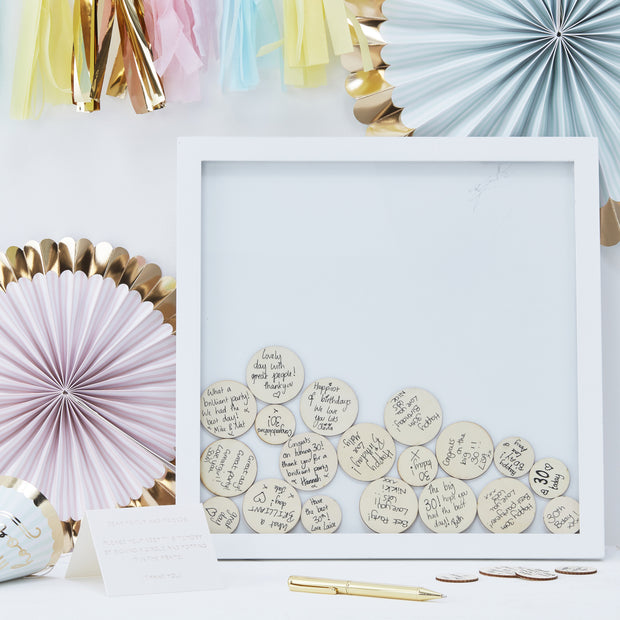 Drop Top Frame Guest Book Alternative With Round Wooden Tokens