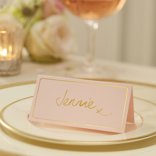 Pink & Gold Foil Place Cards (Pack of 10)