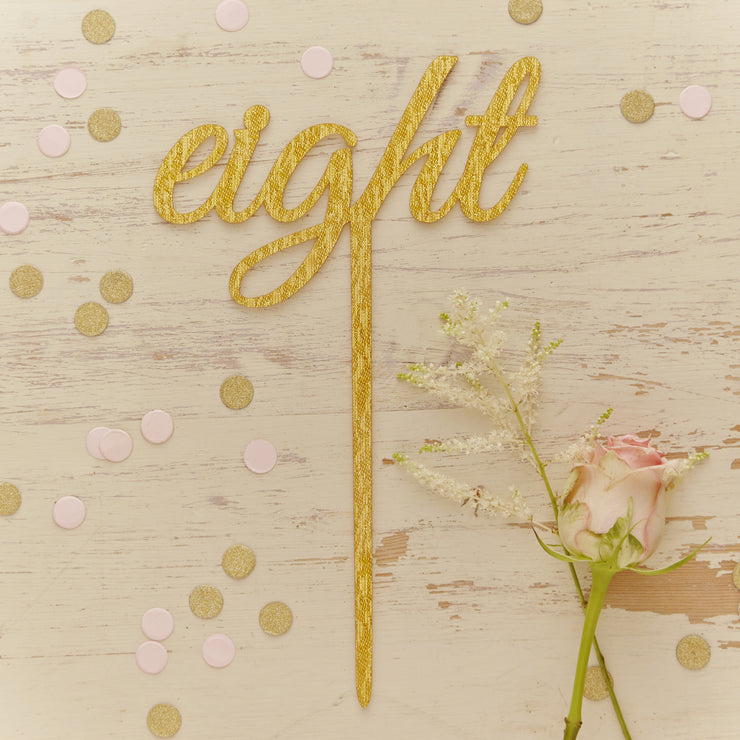 Gold Sparkle Script Acrylic Table Numbers 1-12
