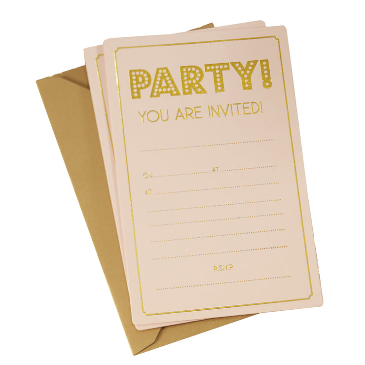 Gold Foiled Party Invitations - Pastel Perfection (Pack of 10)