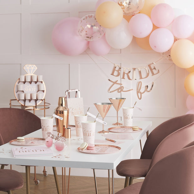 Rose Gold Hen Party Drinks Shot Wall