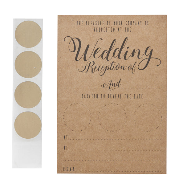 Kraft Scratch The Date Wedding Evening Invitations (Pack of 10)