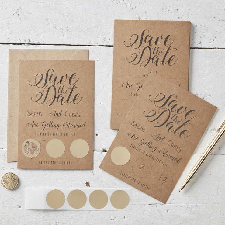 Kraft Scratch The Date Wedding Invitations (Pack of 10)