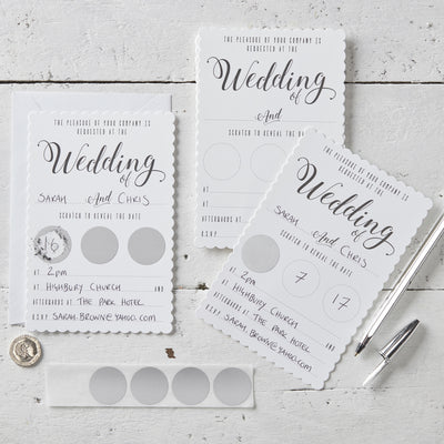 White Scratch The Date Wedding Invitations (Pack of 10)