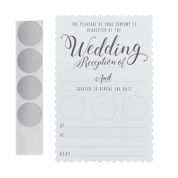 White Scratch The Date Wedding Evening Invitations (Pack of 10)
