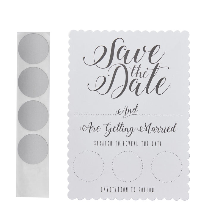 White Scratch & Save The  Date Invitations (Pack of 10)