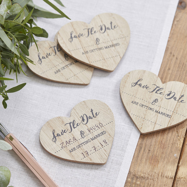 Save The Date Wooden Magnets (Pack of 10)