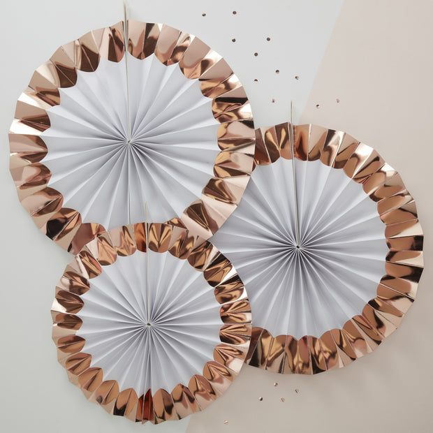 White & Rose Gold Paper Fan Decorations (Pack of 3)