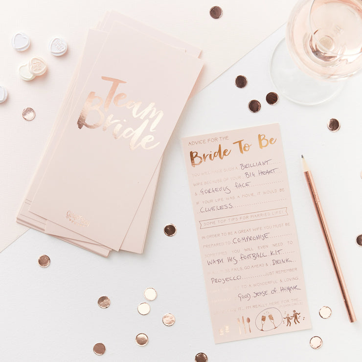 Pink And Rose Gold Advice For The Bride To Be Cards - Team Bride