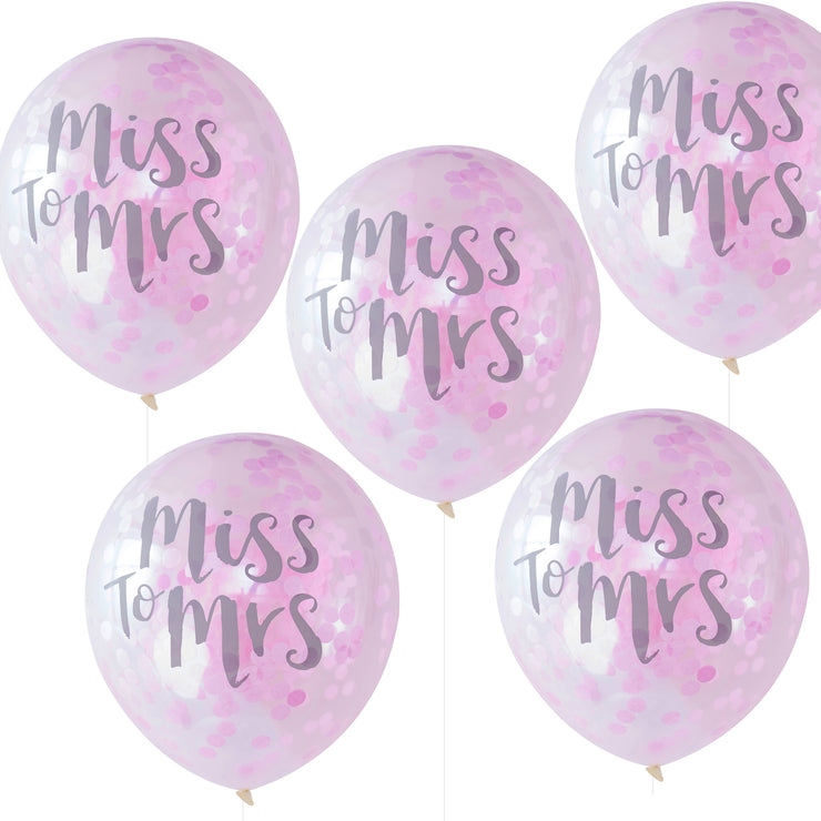 Miss To Mrs Printed Pink Confetti Balloons - Team Bride (Pack of 5)