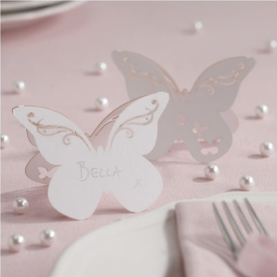 White Butterfly Wedding Place Cards (Set of 10)