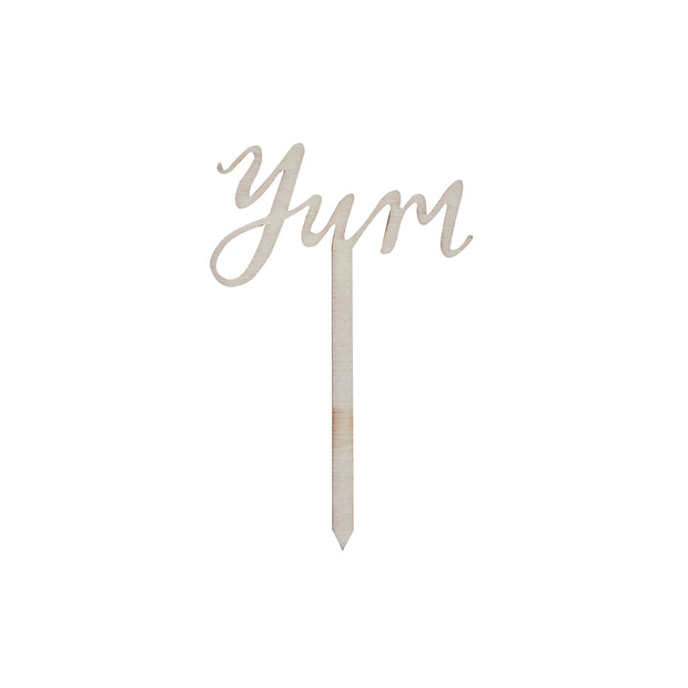 Wooden Yum Cake Toppers