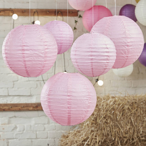 Baby Pink Paper Wedding Lanterns (Pack of 5)