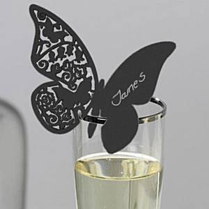 Something in the Air - Black Butterfly Place Cards (Set of 10)