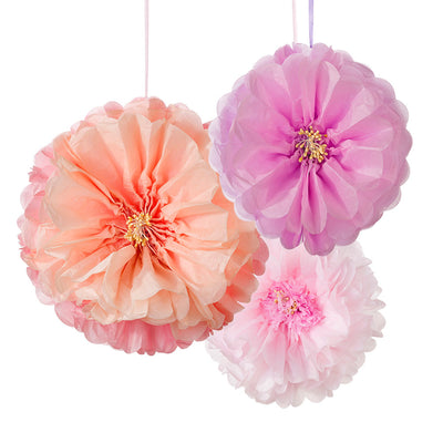 Blush Flower Pom Poms Decoration Kit - Pack of 3