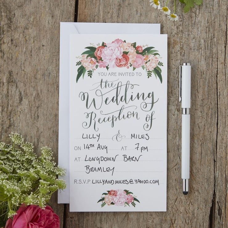 Hand Illustrated Boho Floral Evening Invitations